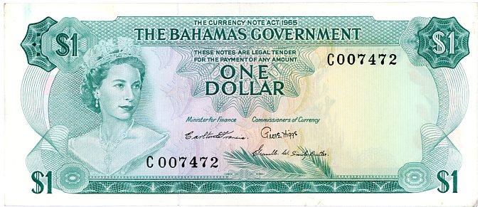 Thumbnail for 1965 Bahamas One Dollar Note EF C007472