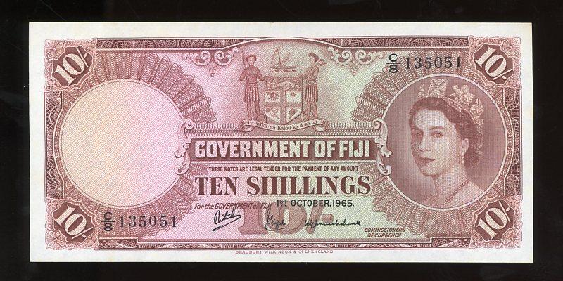 Thumbnail for 1965 Fiji Ten Shillings Banknote C8 135051 EF