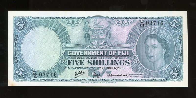 Thumbnail for 1965 Fiji Five Shillings Banknote C14 03716 EF