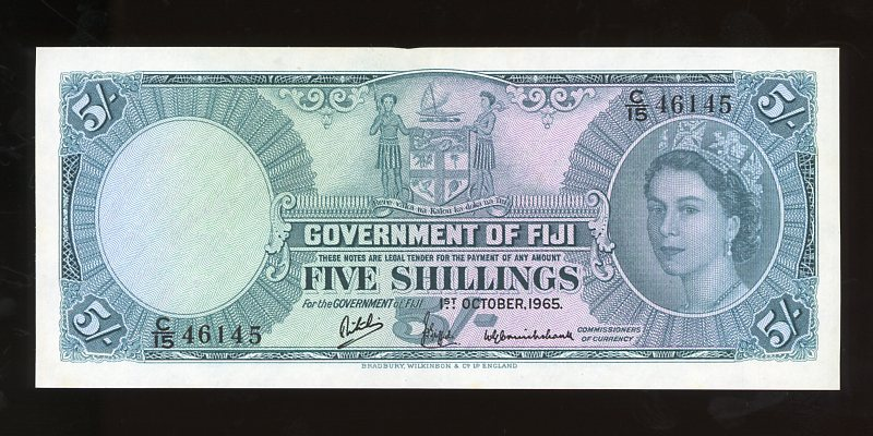 Thumbnail for 1965 Fiji Five Shillings Banknote C15 46145 gEF