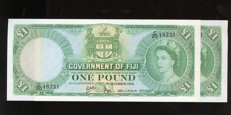 Thumbnail for 1965 Fiji One Pound Banknotes Pair C20 48231-32 gEF-aUNC