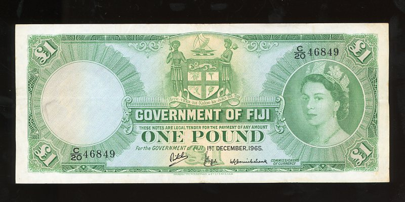 Thumbnail for 1965 Fiji One Pound Banknote C20 46849 VF