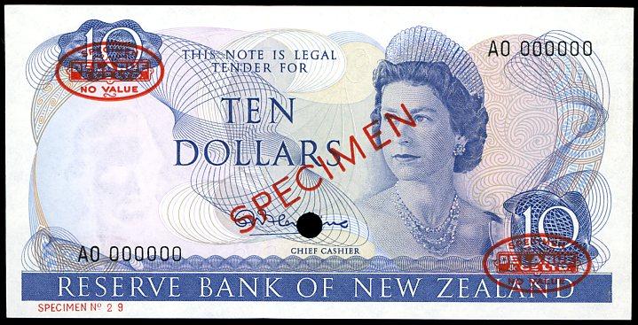 Thumbnail for 1967 New Zealand Specimen Ten Dollar - Fleming AO 000000 UNC