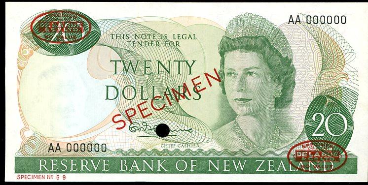 Thumbnail for 1967 New Zealand Specimen Twenty Dollar - Fleming AA 000000 UNC