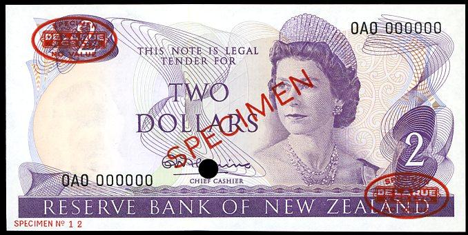 Thumbnail for 1967 New Zealand Specimen Two Dollar - Fleming AOA 000000 UNC