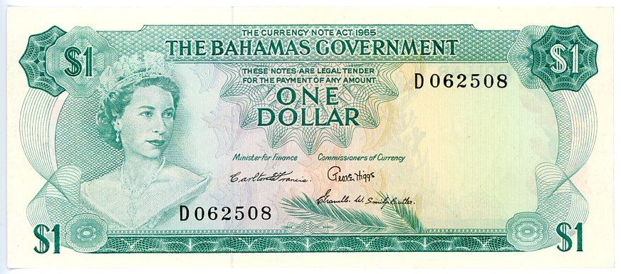 Thumbnail for 1968 Bahamas $1 Note D062508 aUNC