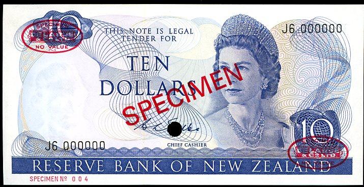 Thumbnail for 1968 New Zealand Specimen Ten Dollar - Wilks J6 000000 UNC