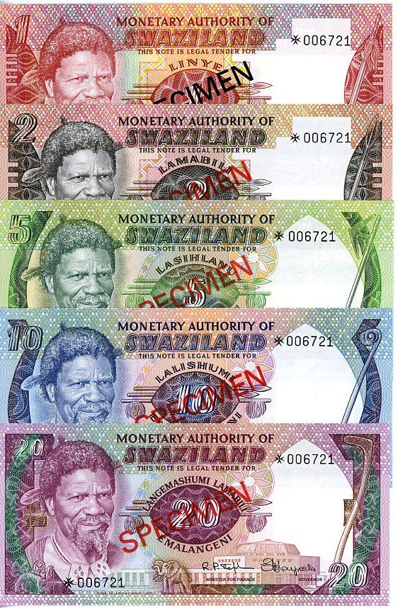 Thumbnail for 1974 Swaziland Set of 5 Specimen Notes UNC 1,2,5,10,20