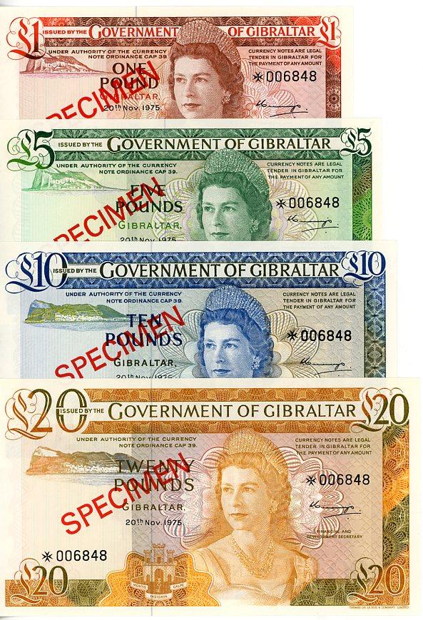 Thumbnail for 1975 Gibraltar Set of 4 Specimen Notes UNC 1,5,10,20