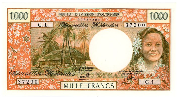 Thumbnail for 1975 New Hebrides 1000 Francs GI 37200 UNC
