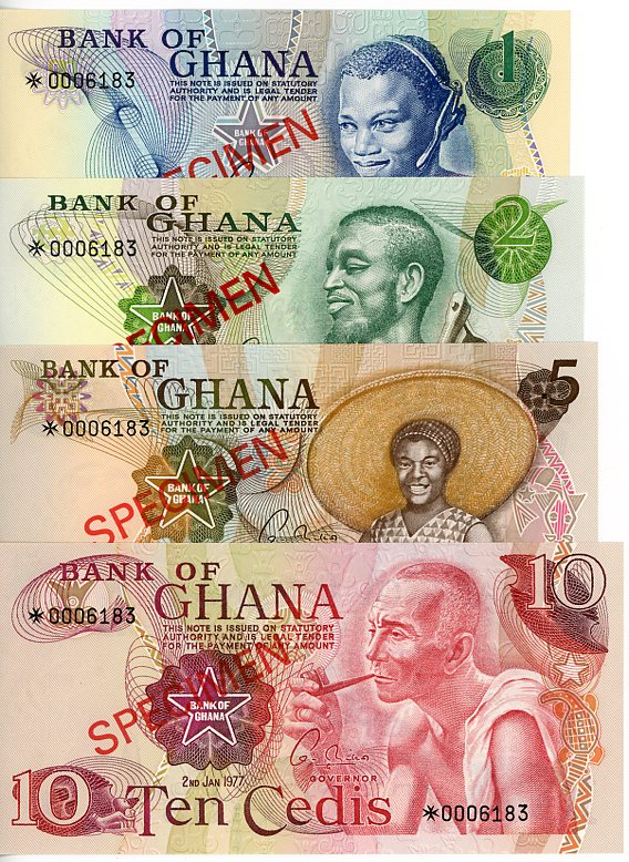 Thumbnail for 1977 Ghana Set of 4 Specimen Notes UNC 1,2,5,10