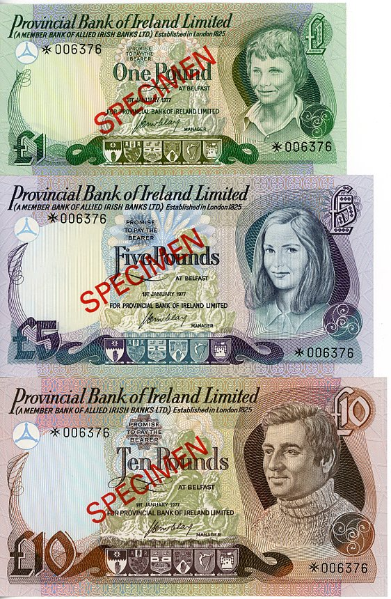 Thumbnail for 1977 Northern Ireland Set of 3 Specimen Notes UNC 1,5,10