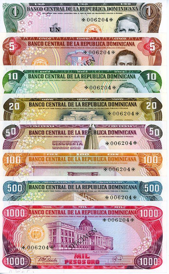 Thumbnail for 1978 Dominican Republic Set 8 Specimen Notes UNC 1,5,10,20,50,100,500,1000