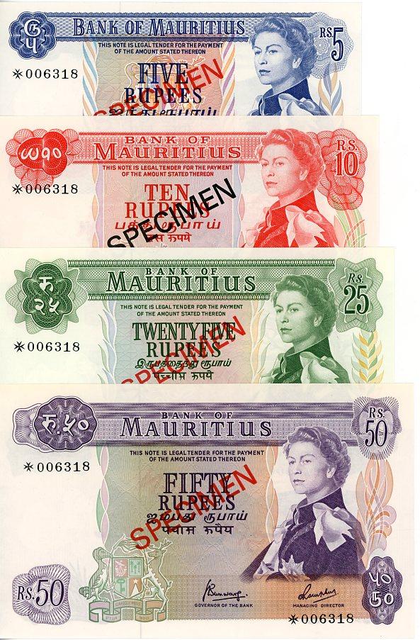 Thumbnail for 1978 Mauritius Set of 4 Specimen Notes UNC 5,10,25,50