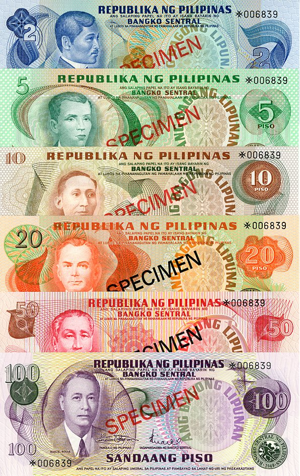 Thumbnail for 1978 Philippines Set of 6 Specimen Notes UNC 2,5,10,20,50,100
