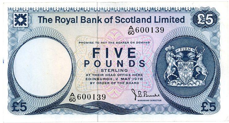 Thumbnail for 1978 Royal Bank of Scotland Five Pound Note A60 600139 VF