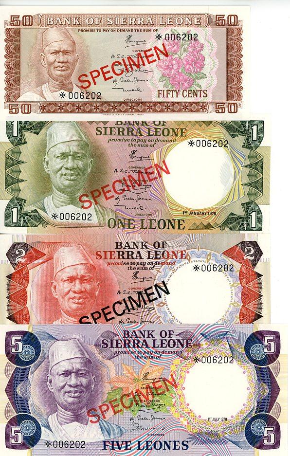 Thumbnail for 1978 Sierra Leone Set of 4 Specimen Notes UNC 50,1,2,5
