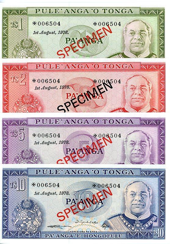 Thumbnail for 1978 Tonga Set of 4 Specimen Notes UNC 1,2,5,10