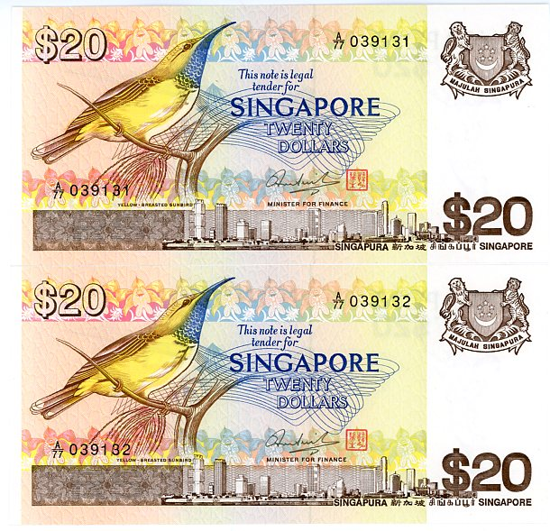 Thumbnail for 1979 Singapore Consecutive Pair Twenty Dollar Notes UNC A77 039131-32