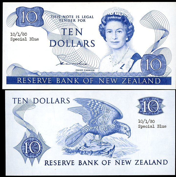 Thumbnail for 1980 New Zealand Uniface Colour Trial Ten Dollar - UNC and Rare