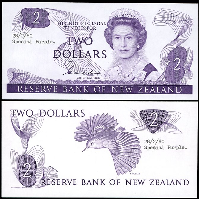 Thumbnail for 1980 New Zealand Uniface Colour Trial Two Dollar - UNC and Rare