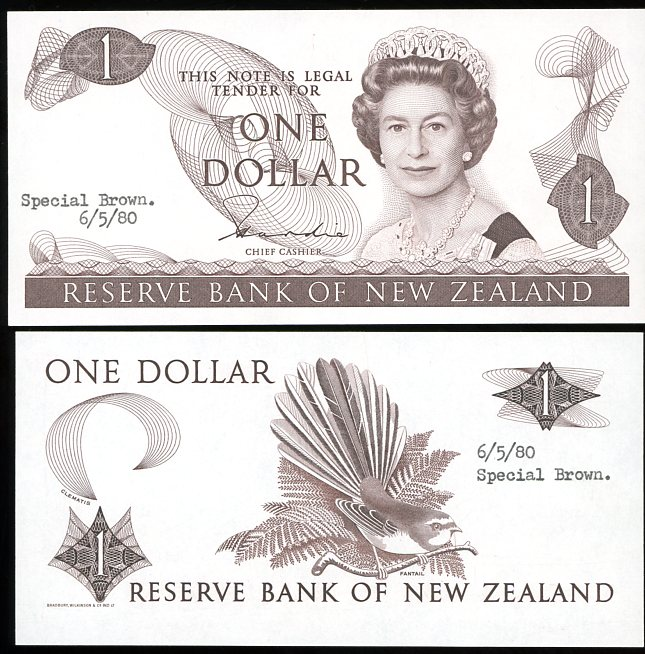 Thumbnail for 1980 New Zealand Uniface Colour Trial One Dollar - UNC and Rare
