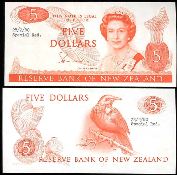 Thumbnail for 1980 New Zealand Uniface Colour Trial Five Dollar - UNC and Rare