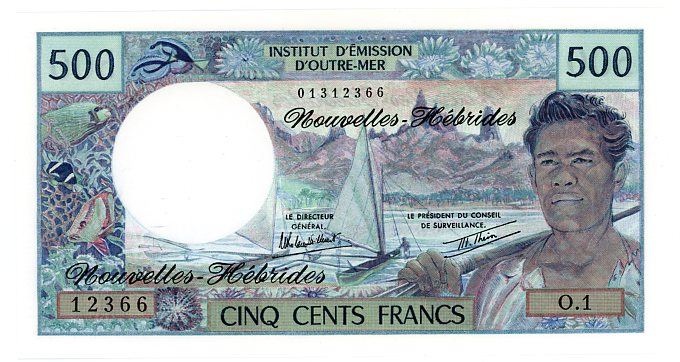 Thumbnail for 1980 New Hebrides 500 Francs Note 12366