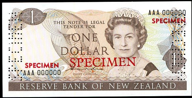 Thumbnail for 1981 New Zealand Specimen One Dollar - Hardie AAA 000000 UNC