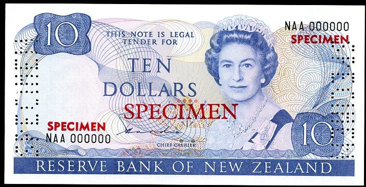 Thumbnail for 1981 New Zealand Specimen Ten Dollar - Hardie NAA 000000 UNC