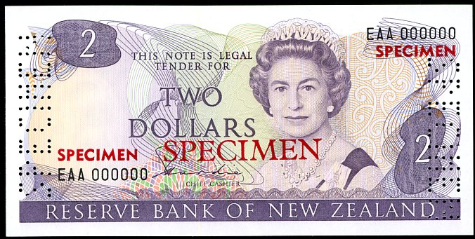 Thumbnail for 1981 New Zealand Specimen Two Dollar - Hardie EAA 000000 UNC