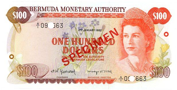 Thumbnail for 1982 Bermuda $100 Specimen Note UNC
