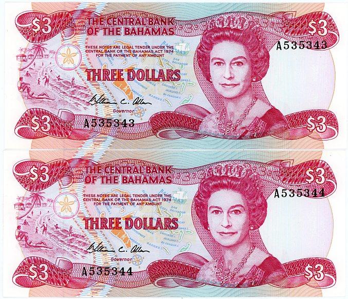 Thumbnail for 1984 Bahamas Consecutive Pair Three Dollar Note UNC A535343-44