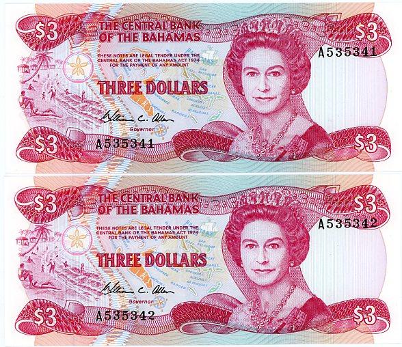 Thumbnail for 1984 Bahamas Consecutive Pair three Dollar Note UNC A535341-42