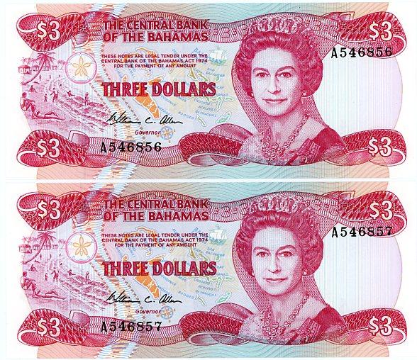 Thumbnail for 1984 Bahamas Consecutive Pair Three Dollar Notes UNC  A546856-57