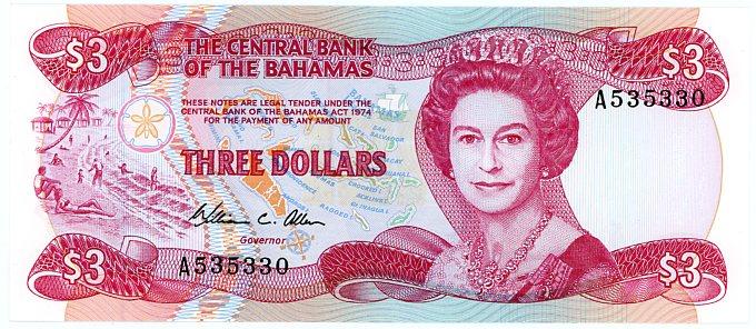 Thumbnail for 1984 Bahamas Three Dollar Note UNC A535330
