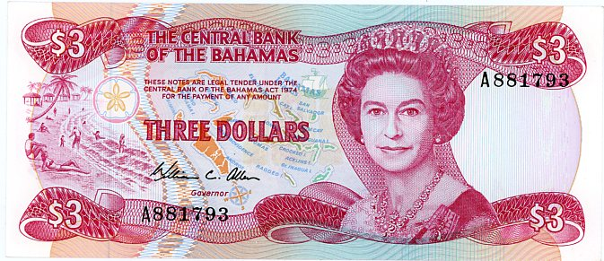 Thumbnail for 1984 Bahamas Three Dollar Note UNC A881793