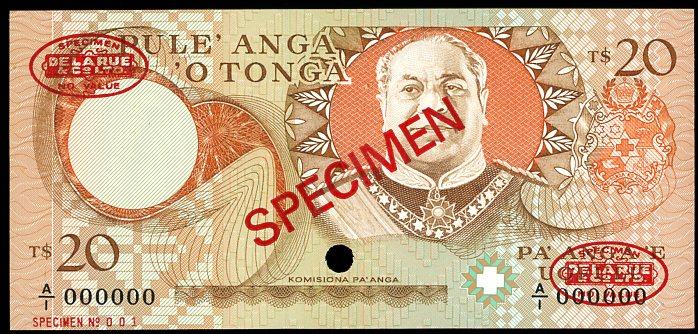 Thumbnail for 1985 Tonga Specimen Twenty Pa'anga A1 000000 UNC