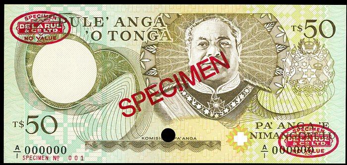 Thumbnail for 1988 Tonga Specimen Fifty Pa'anga A1 000000 UNC