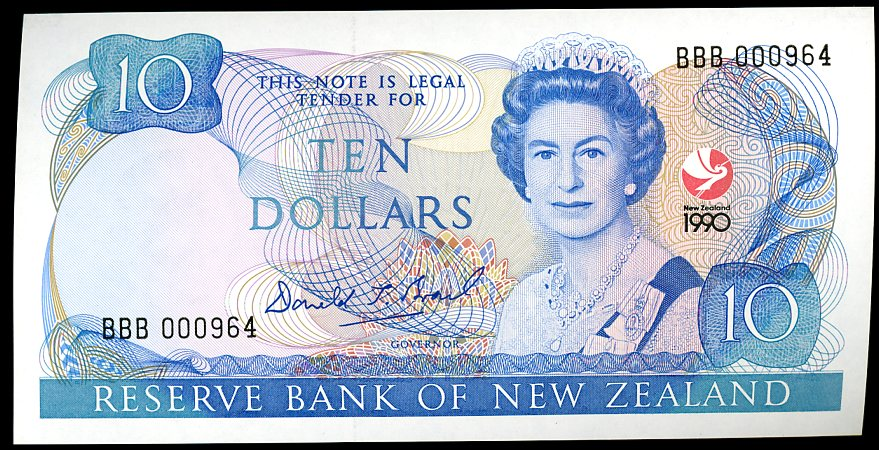 Thumbnail for 1990 New Zealand $10 Commemorative Banknote BBB 000964 UNC