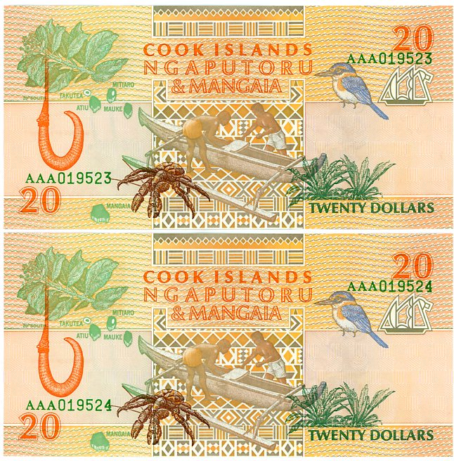 Thumbnail for 1992 Consecutive Pair Cook Islands $20 Notes AAA 019523-24 UNC