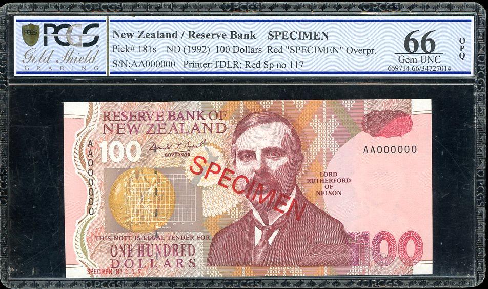 Thumbnail for 1992 New Zealand $100.00 Specimen PCGS 66 Gem UNC