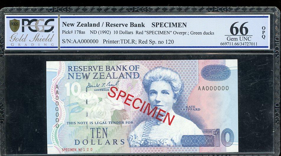 Thumbnail for 1992 New Zealand $10.00 Specimen PCGS 66 Gem UNC