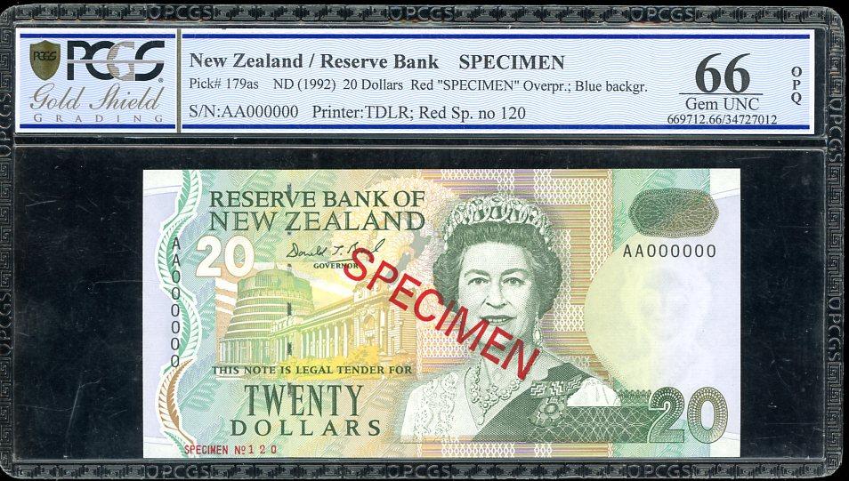 Thumbnail for 1992 New Zealand $20.00 Specimen PCGS 66 Gem UNC