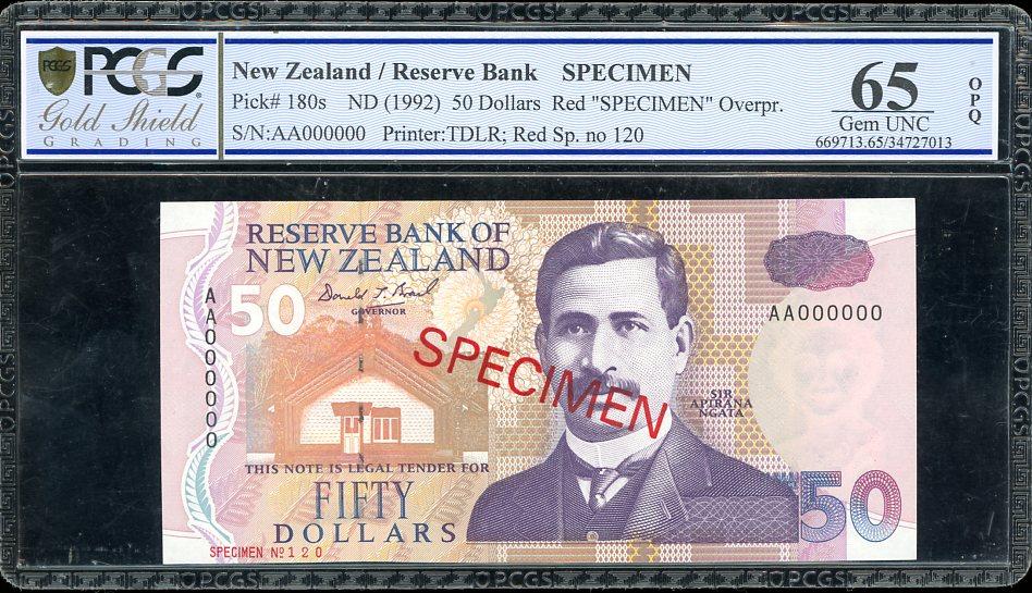 Thumbnail for 1992 New Zealand $50.00 Specimen PCGS 65 Gem UNC