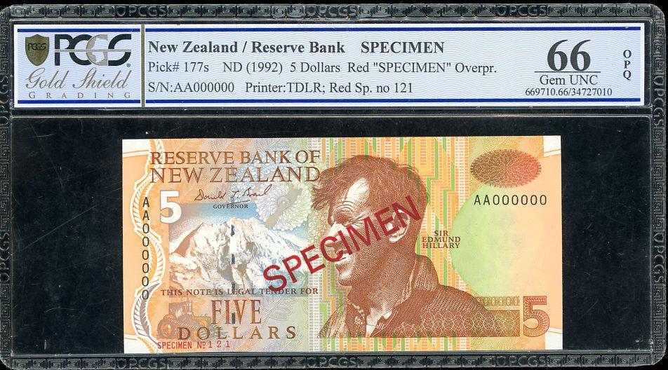 Thumbnail for 1992 New Zealand $5.00 Specimen PCGS 66 Gem UNC