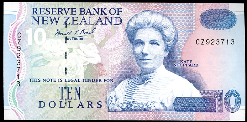 Thumbnail for 1999 New Zealand $10 Banknote Brash Signature CZ 923713 aUNC