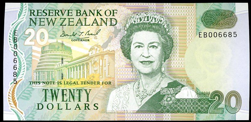 Thumbnail for 1999 New Zealand $20 Banknote Brash Signature EB00 6685 aUNC