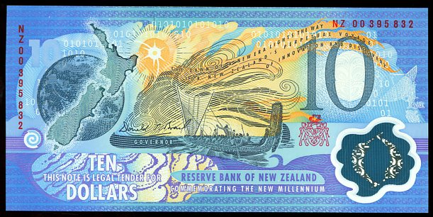 Thumbnail for 2000 New Zealand $10 Millennium Banknote with Red Serial Number NZ00 395832 UNC