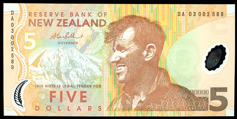 Thumbnail for 2003 New Zealand $5 Banknote DA03 002589 UNC